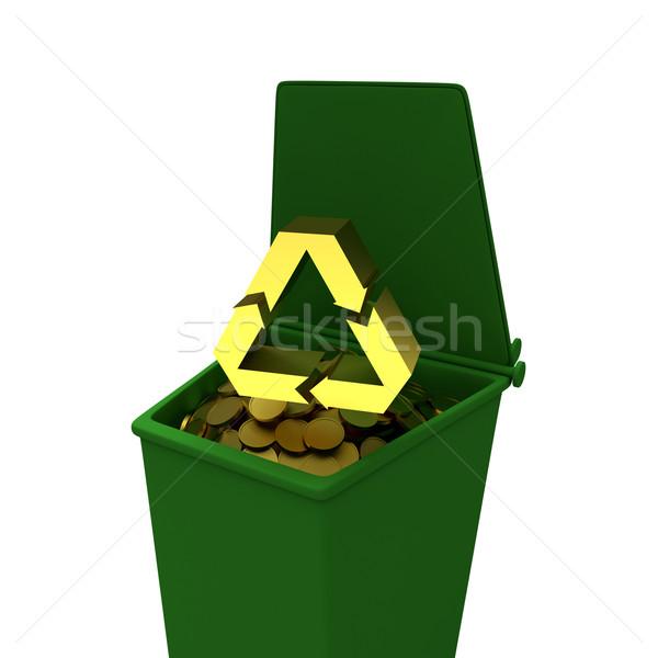 Munten recycling container business illustratie geld Stockfoto © dengess