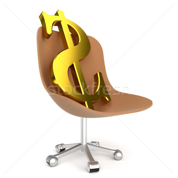 Dollar symbool bureaustoel witte business teken Stockfoto © dengess