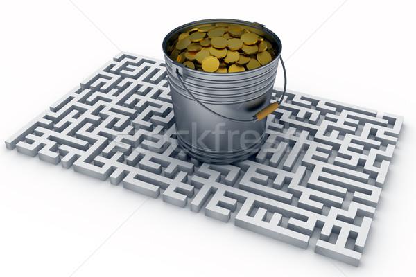 монетами ковша центр лабиринт стены Сток-фото © dengess