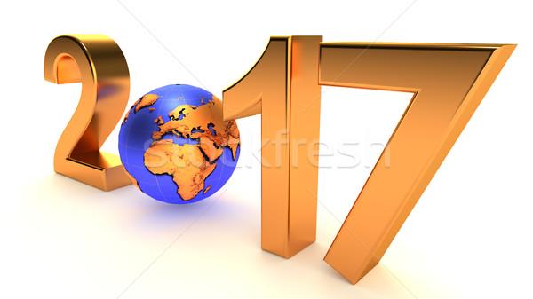 Año nuevo planeta tierra blanco 3d feliz Foto stock © dengess