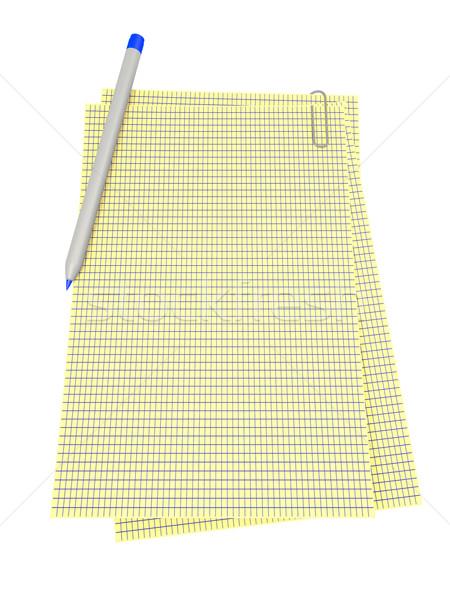 Pen notepad geïsoleerd witte papier werk Stockfoto © dengess
