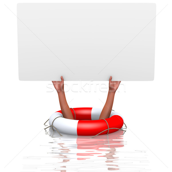 Blank card in drowning hands Stock photo © dengess