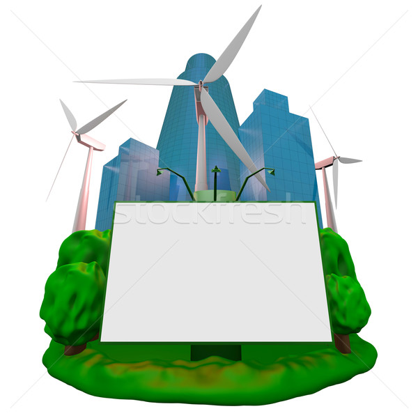 Abstract: wind-turbines, building and billboard Stock photo © dengess