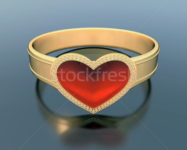 gold ring with a heart shape ruby Stock photo © dengess