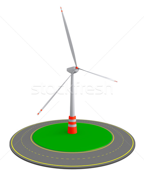 Wind turbine and roundabout route Stock photo © dengess
