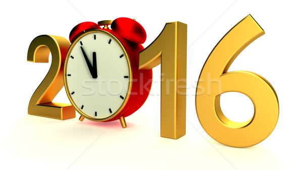 Año nuevo 2016 ilustración rojo reloj negocios Foto stock © dengess