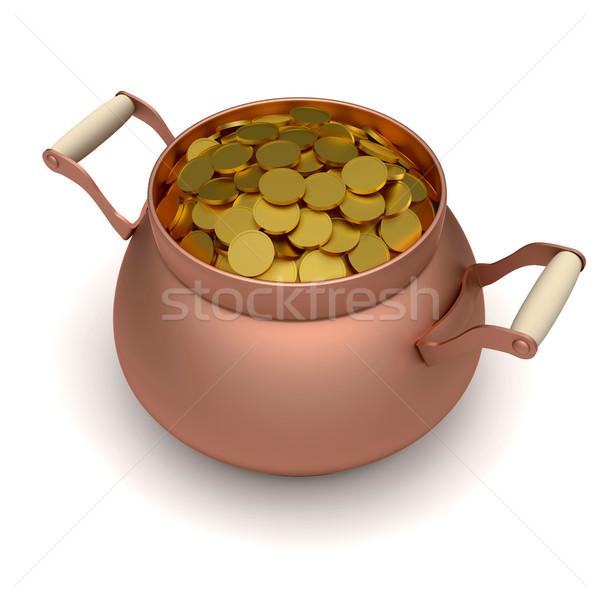 Oro bronce olla ilustración blanco negocios Foto stock © dengess