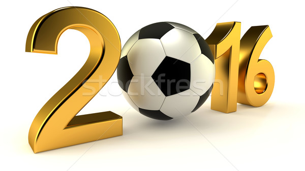 Year 2016 with soccer ball Stock photo © dengess