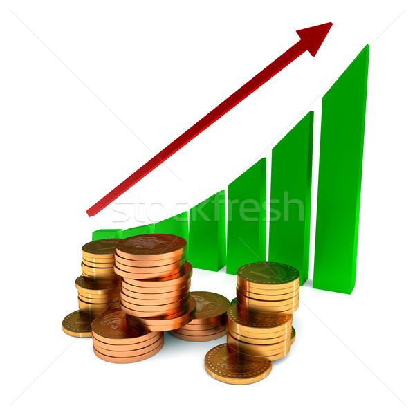 Business grafiek gouden munten witte metaal financieren Stockfoto © dengess