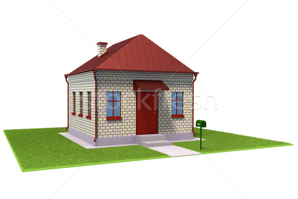Baksteen huis grasveld stad ontwerp deur Stockfoto © dengess