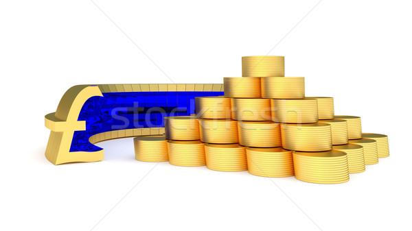 фунт символ пирамида монеты деньги Сток-фото © dengess