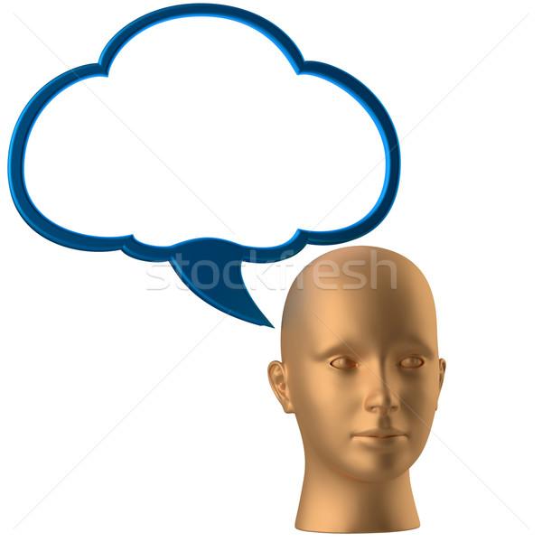 Hombre cabeza dibujo nube aislado blanco Foto stock © dengess