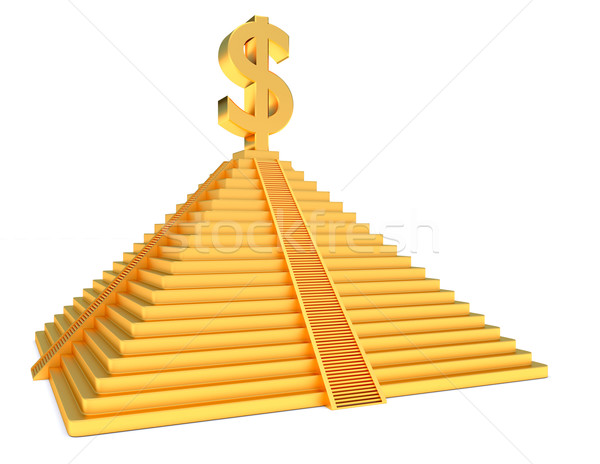 Or pyramide dollar or symbole blanche Photo stock © dengess