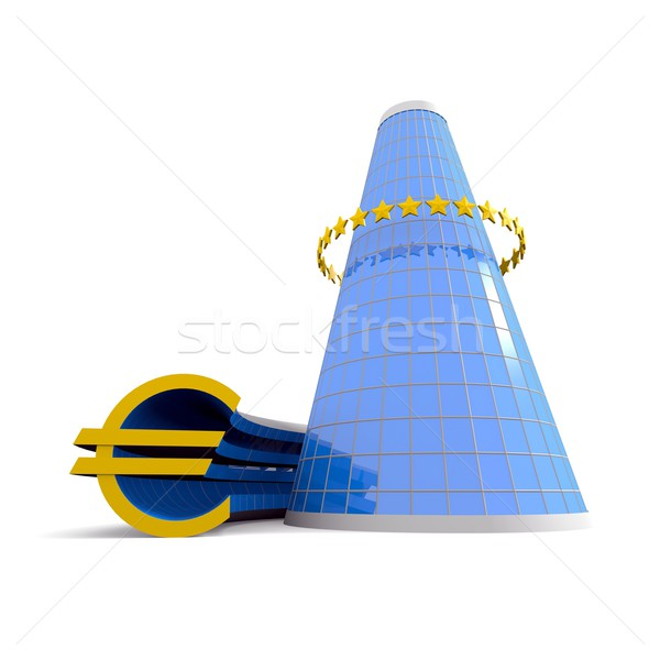 Business building with euro symbol Stock photo © dengess