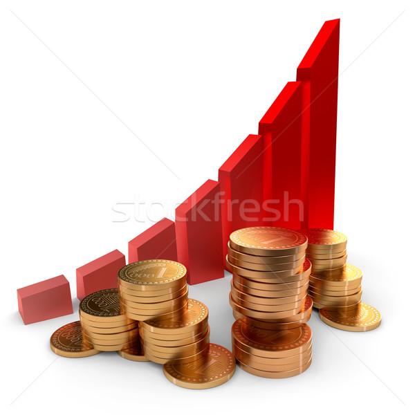 Grafiek munten geslaagd groei business gouden munten Stockfoto © dengess