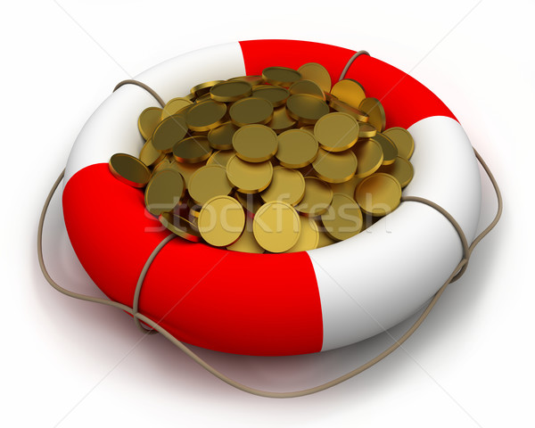 Coins in lifesaver. Stock photo © dengess