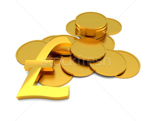фунт знак монетами белый бизнеса фон Сток-фото © dengess