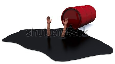 Hands stick out of fuel oil Stock photo © dengess