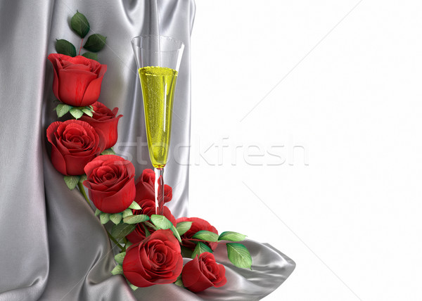 isolate holiday background with roses, jewelry and fabric Stock photo © denisgo