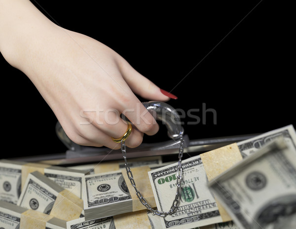 Pénz tok nő kéz jegygyűrű házasság Stock fotó © denisgo