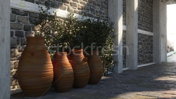 Ancient street with shadows, pitchers and plant Stock photo © denisgo