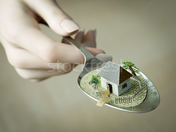 woman hand holding spoon with paper house real estate business concept photo Stock photo © denisgo