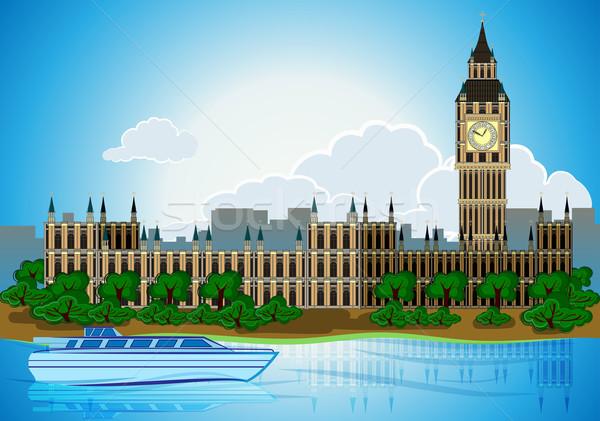 Europa skyline city capital London background with river bus Stock photo © denisgo