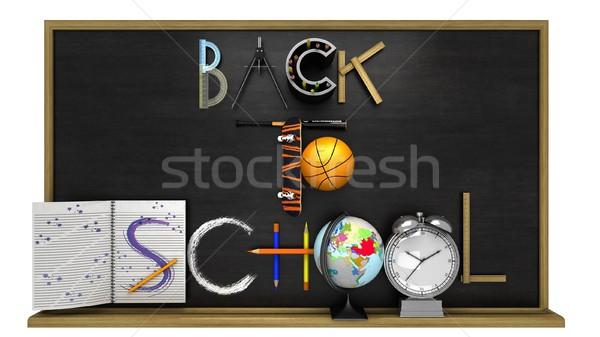 Volver a la escuela anunciante texto educación elementos manos Foto stock © denisgo
