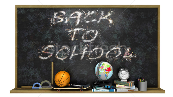 Okula geri poster metin eğitim elemanları kâğıt Stok fotoğraf © denisgo