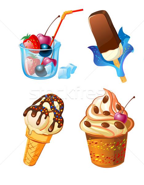 Ayarlamak dondurma meyve şekerleme yeşil pembe Stok fotoğraf © denisgo