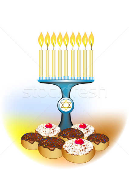 hanukkah candles with traditional donuts Stock photo © denisgo