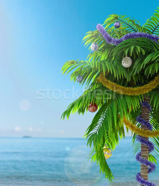 Año nuevo palmera decoración vacaciones árbol fiesta Foto stock © denisgo