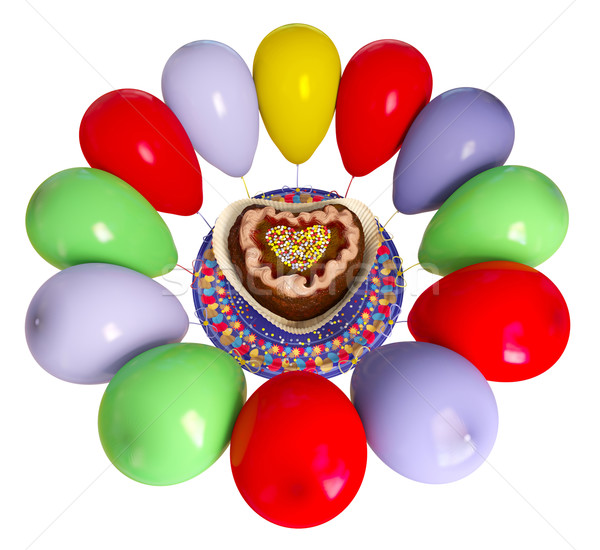 Doğum günü dekoratif kek balonlar kutlama Stok fotoğraf © denisgo