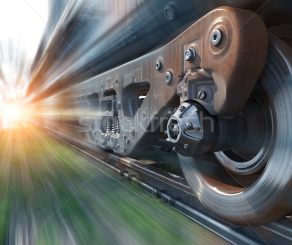 Industrial trilho trem rodas tecnologia Foto stock © denisgo