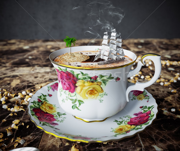 Still life with coffee cup and toy boat concept relaxation vacation close up photo Stock photo © denisgo