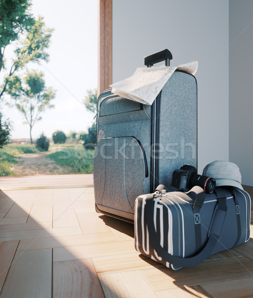 travel case with open door travel vacation concept background Stock photo © denisgo