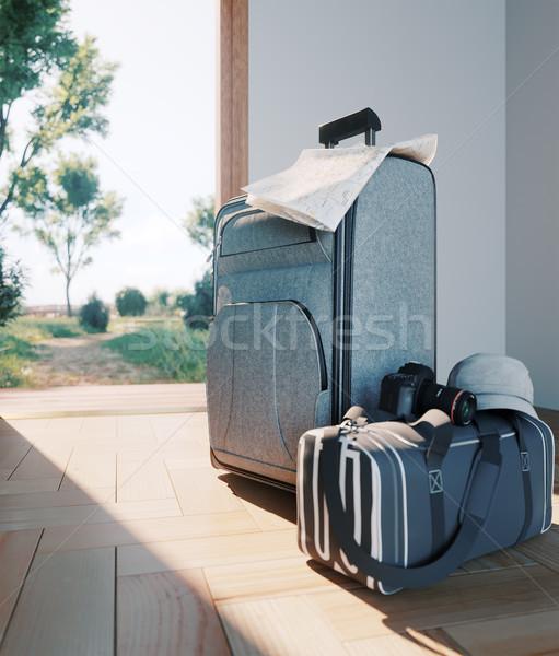 Viaggio caso porta aperta vacanze business mondo Foto d'archivio © denisgo