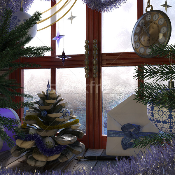 Christmas tree with pine cone,window and clock concept interior composition Stock photo © denisgo