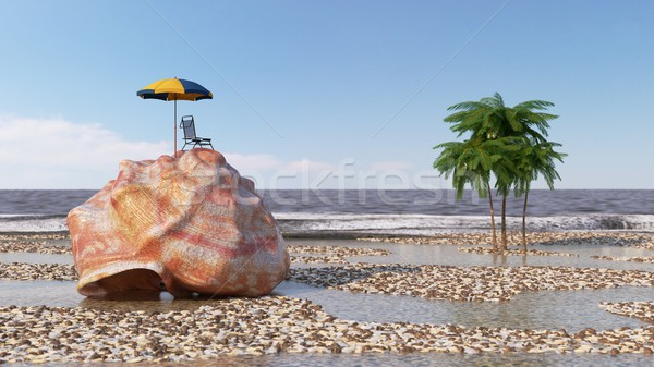 relaxing vacation concept background with seashell,umbrella and beach accessories 3d illustration Stock photo © denisgo
