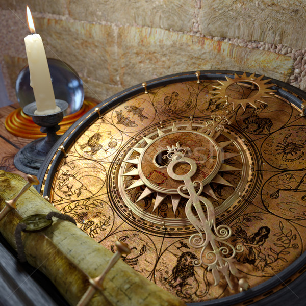 Ancora vita zodiaco candela carta legno Foto d'archivio © denisgo