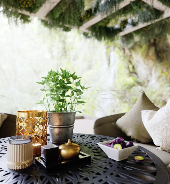 Ao ar livre tabela cadeiras madeira parede Foto stock © denisgo