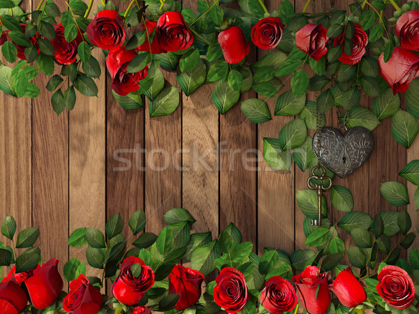 Rosas corazón clave vacaciones textura Foto stock © denisgo