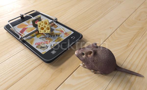 Virtual queijo mouse publicidade telefone Foto stock © denisgo
