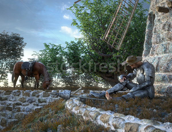 Don Quixote and windmill conception illustration 3d composition Stock photo © denisgo