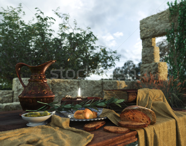 stilllife on nature background with ancient ruins, books,bread olive and pitcher Stock photo © denisgo