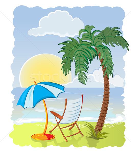 Stockfoto: Palmboom · zee · parasol · stoel · boom · abstract