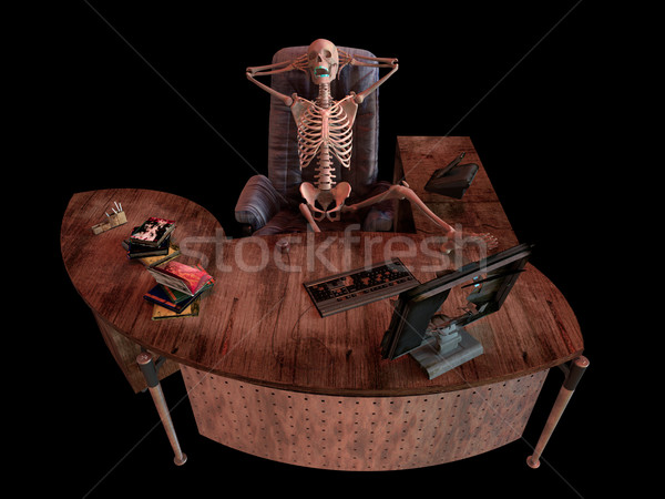 sitting skeleton in office interior concept illustration Stock photo © denisgo