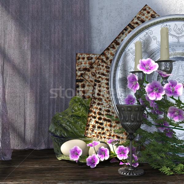 Célébrer Pâque oeufs fleurs vacances heureux Photo stock © denisgo