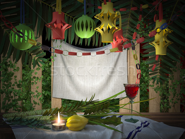 Symbols of the Jewish holiday Sukkot with palm leaves and candle Stock photo © denisgo