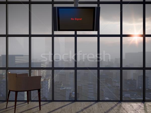 Apocalíptico oficina mundo ventana humo supervisar Foto stock © denisgo